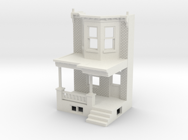 HO scale WEST PHILLY ROW HOME FRONT MIR in White Natural Versatile Plastic
