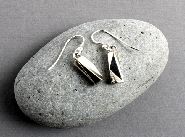 Scutoid Earrings - Mathematical Jewelry in Polished Silver