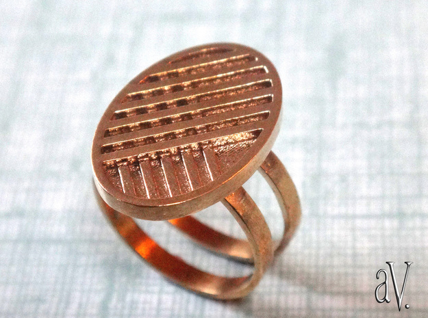 Two Stripe Ring in Natural Brass: 8 / 56.75