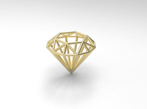 Diamond shaped wire pendant in Natural Brass