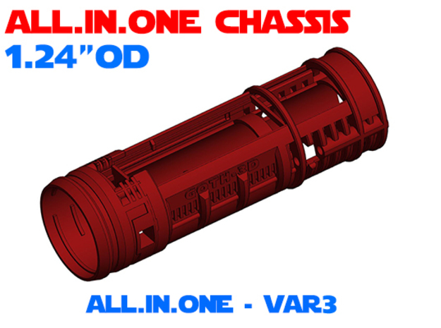 """ALL.IN.ONE - 1.24""""OD - Lightsaber Chassis Var3 in White Natural Versatile Plastic"""
