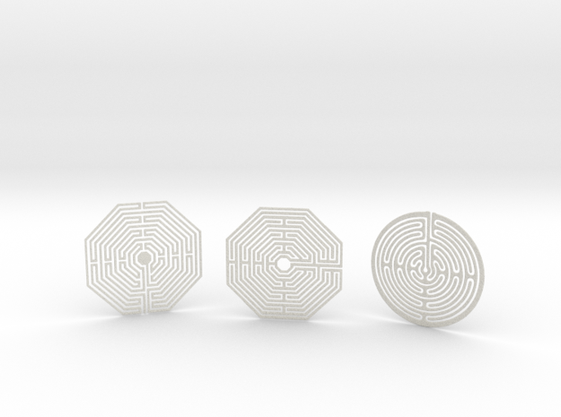 3 Maze Coasters in Natural Full Color Sandstone