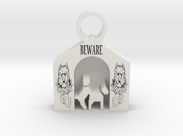 Beware of Dog pendant in White Premium Versatile Plastic