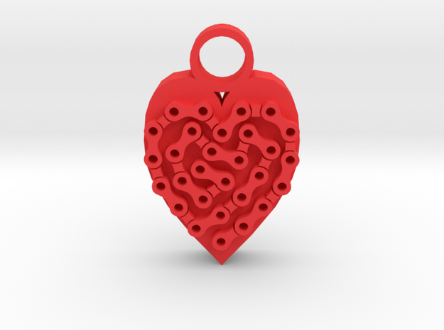 Bike Life Heart pendant in Red Processed Versatile Plastic