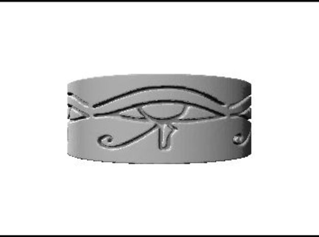 Egyptian Eye Of Horus Ring Size 6 in Polished Bronzed Silver Steel