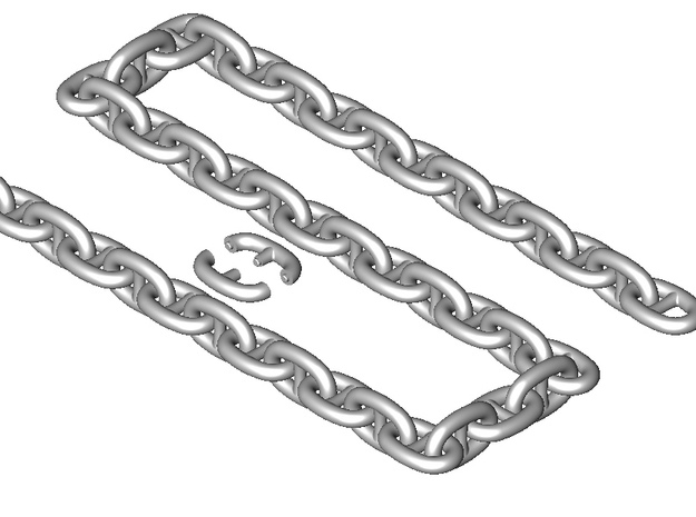 Large Ship Chain in Smooth Fine Detail Plastic: 1:35
