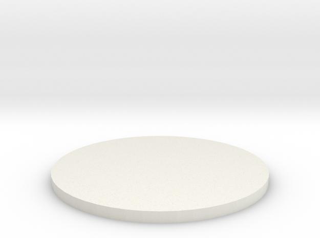 50mm Circular Miniature Base Plate in White Natural Versatile Plastic