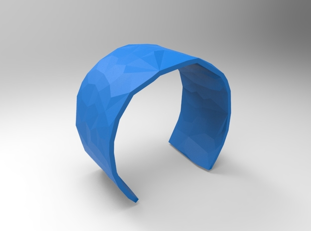 Cuff Faceted 58mm  in Blue Processed Versatile Plastic