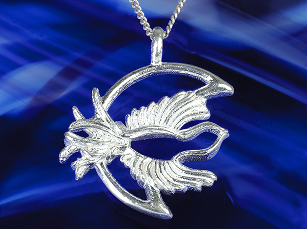 Night bird crescent moon phase witch jewelry  in Polished Silver