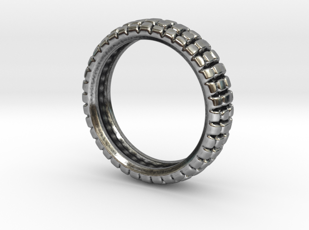 Knobby Tire Ring in Antique Silver