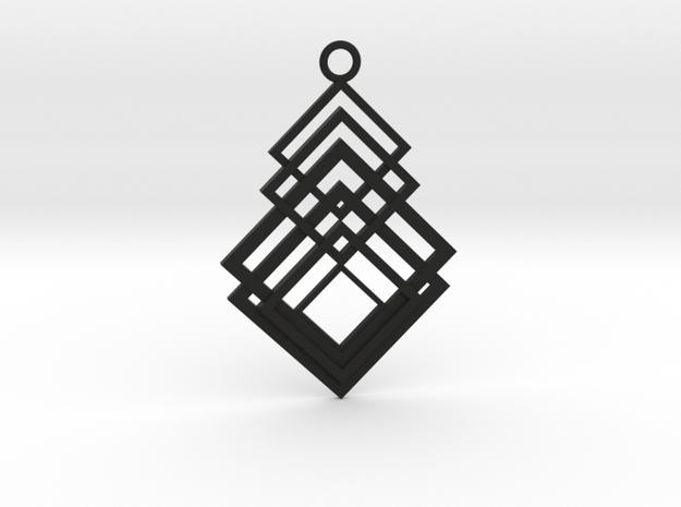 Geometrical pendant no.8 in Black Natural Versatile Plastic: Large