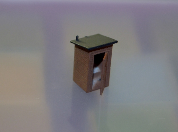 N-Scale Slant Roof Outhouse in Smooth Fine Detail Plastic