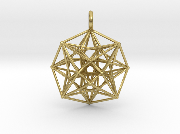 Metatron's Compass 35mm - 4D Vector Equilibrium in Natural Brass