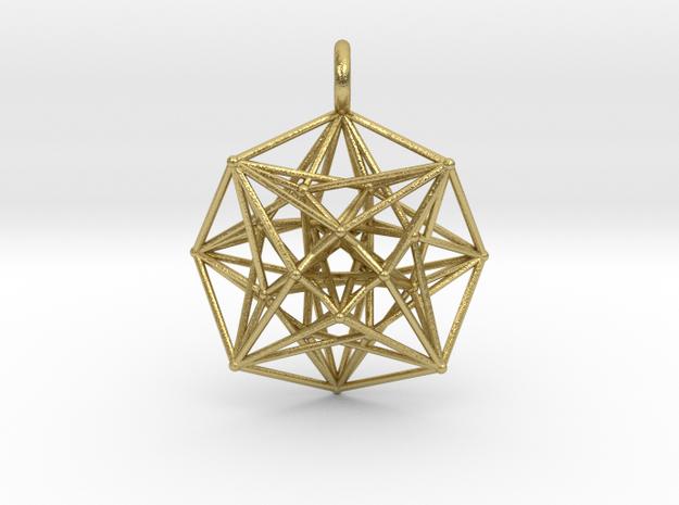 Metatron's Compass 35mm - 4D Vector Equilibrium in Natural Brass