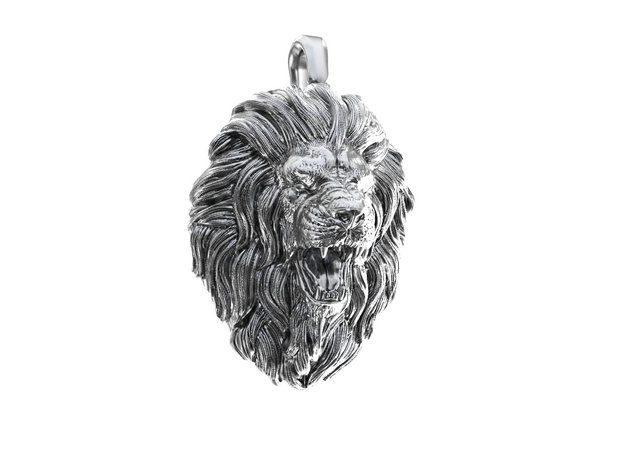 Lion Pendant in Natural Silver