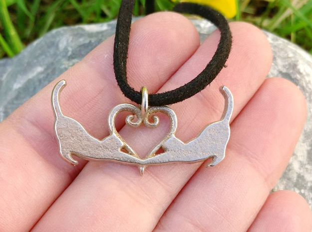 Cats Heart (hanger) in Polished Bronzed-Silver Steel