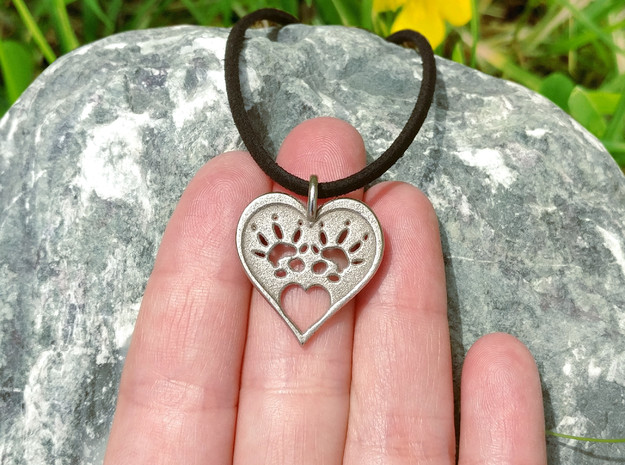 Rat Foot Print Heart  in Polished Bronzed Silver Steel