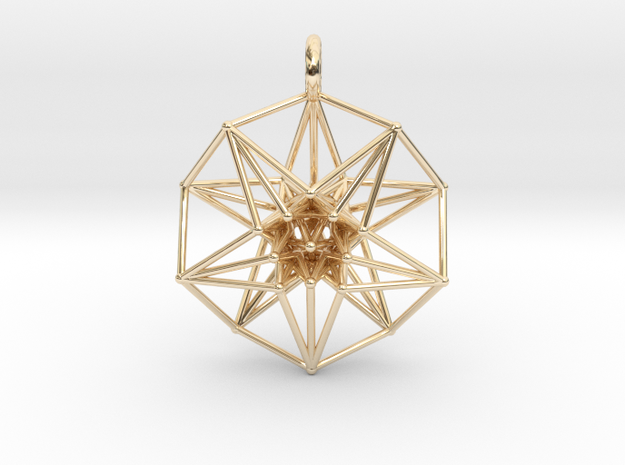 5d hypercube toroidal projection -37mm  in 14k Gold Plated Brass: Small