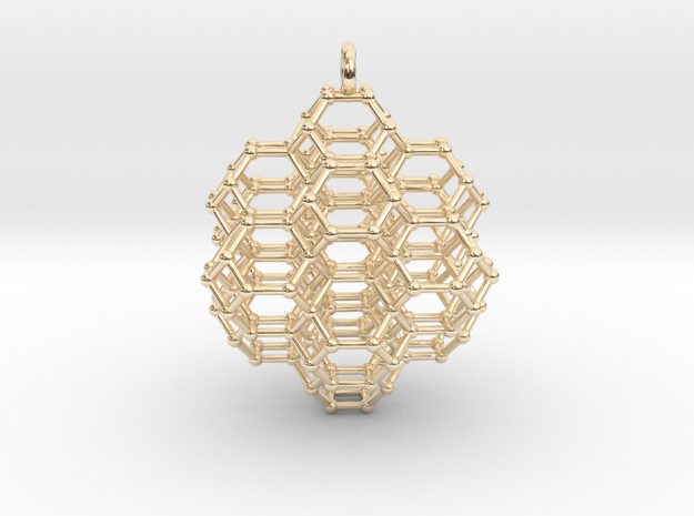 7 sided honeycomb cluster pendant in 14k Gold Plated Brass: Small