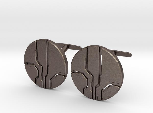 Eld Cufflinks (steel) in Polished Bronzed-Silver Steel