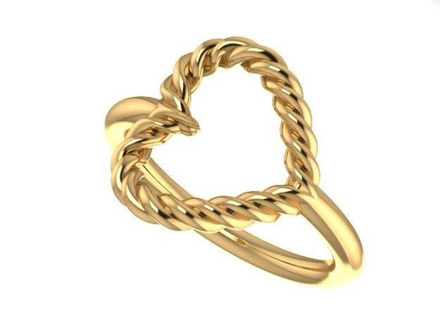 Twisted Heart Midi Ring in 14K Gold