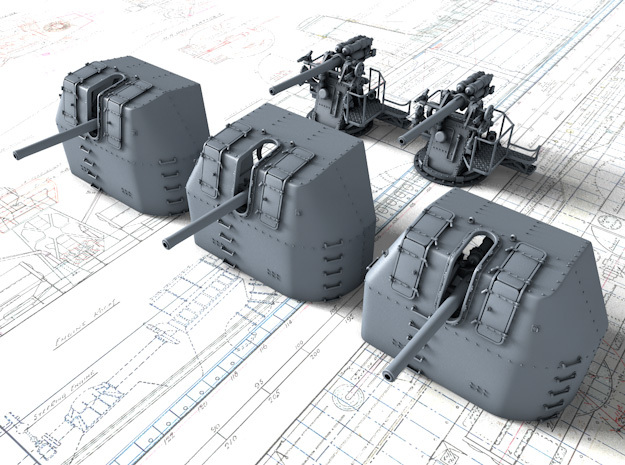 "1/128 RN 4"" MKV P Class Guns Closed Ports x5 in Smooth Fine Detail Plastic"
