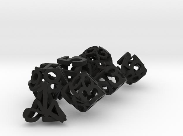 Hollow Dice in Black Natural Versatile Plastic: Polyhedral Set