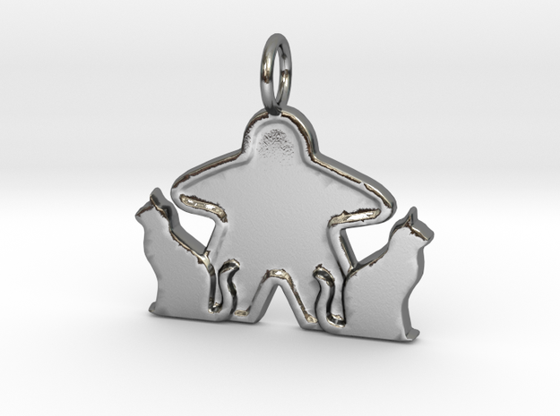 Cat meeple pendant  in Polished Silver