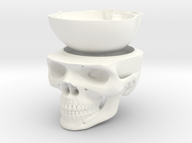 Skull - Engagement Ring Box in White Processed Versatile Plastic