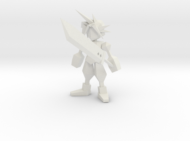 Final Fantasy 7 Cloud With Buster in White Natural Versatile Plastic: 1:8