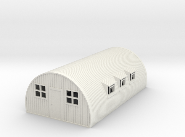 1/76th (20 mm) scale Nissen hut in White Natural Versatile Plastic