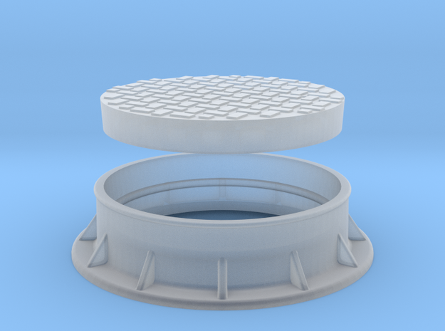 Heavy Manhole Cover and Flange 1/32 scale in Smooth Fine Detail Plastic