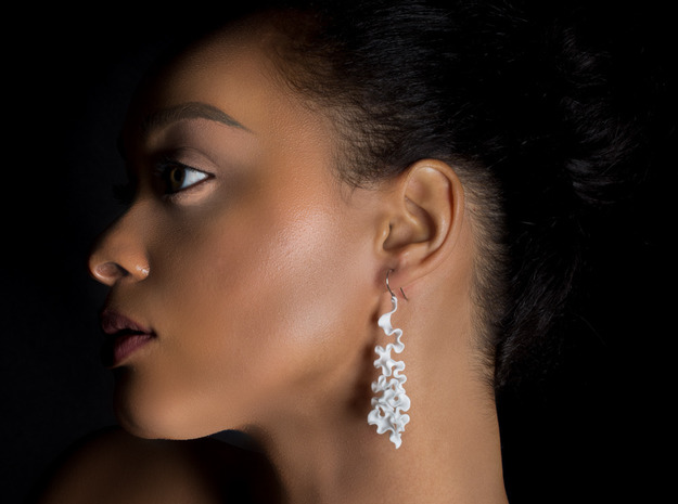 Cassiopea Earrings in White Natural Versatile Plastic