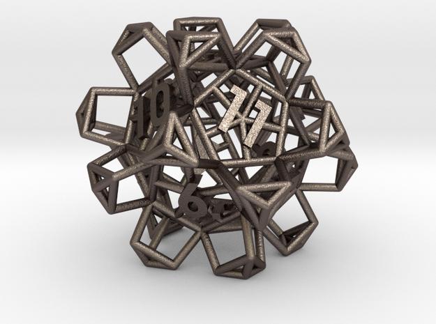 Crystal Lattice Dice, D12 - Standard gaming die in Polished Bronzed-Silver Steel