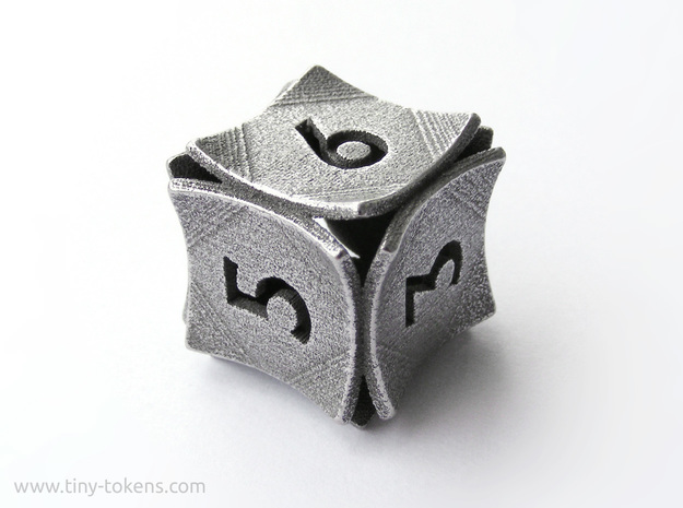 Peel Dice - D6 (six sided gaming die) in Polished Bronzed-Silver Steel