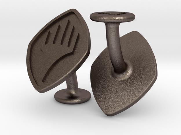 Cufflinks Planeswalker Symbol in Polished Bronzed-Silver Steel