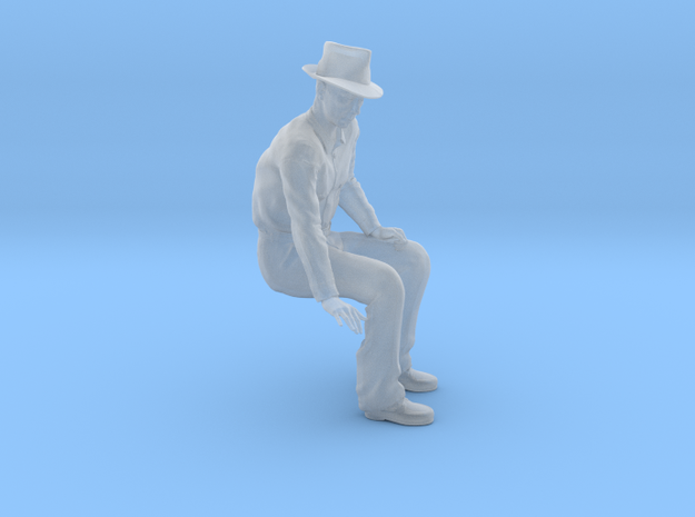 1-24 Fred sitting on bench wearing hat in Smoothest Fine Detail Plastic