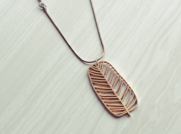 Leaf Pendant in Raw Brass