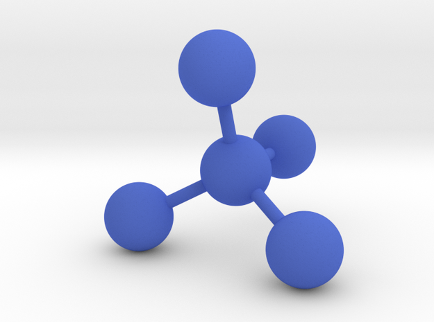 Tetrahedral Molecule Bookend in Blue Processed Versatile Plastic
