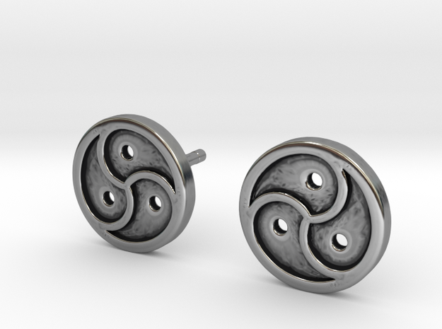 Triskele Earrings in Antique Silver