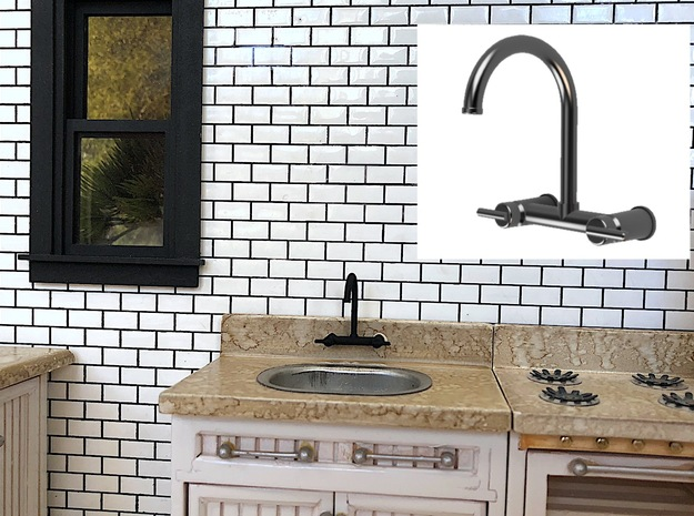 Contemp Wall Bridge Faucet (Laundry) in Smooth Fine Detail Plastic