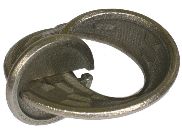 Moby Maze - metal in Polished Bronzed Silver Steel