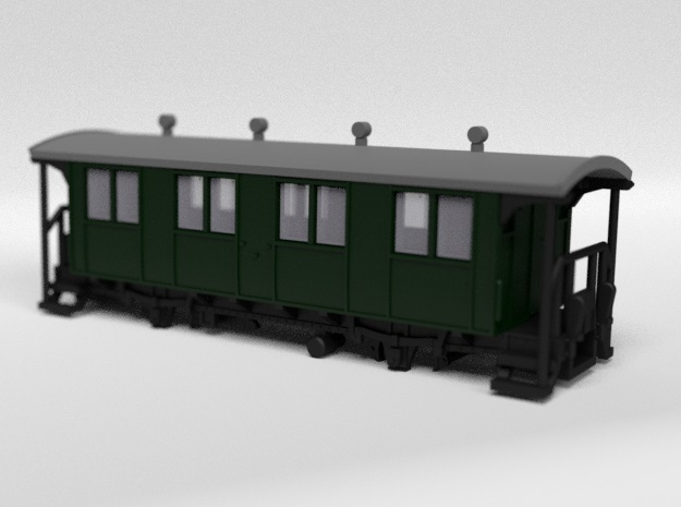 RhB B1001 Passenger Wagon in Smooth Fine Detail Plastic