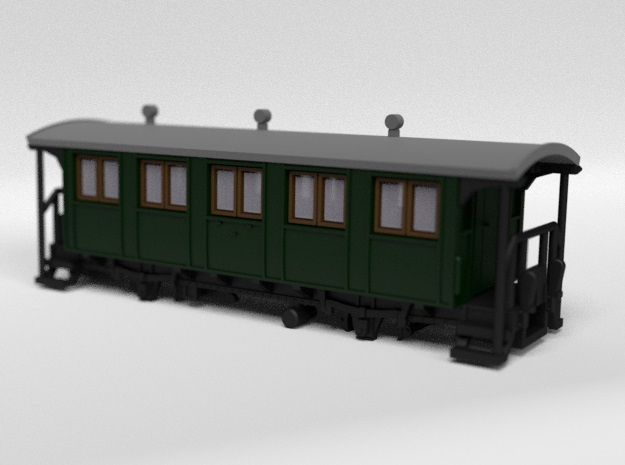RhB C2001 Passenger Wagon in Smooth Fine Detail Plastic