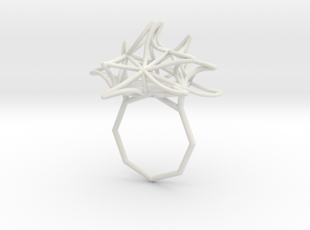Aster Ring 9 in White Natural Versatile Plastic