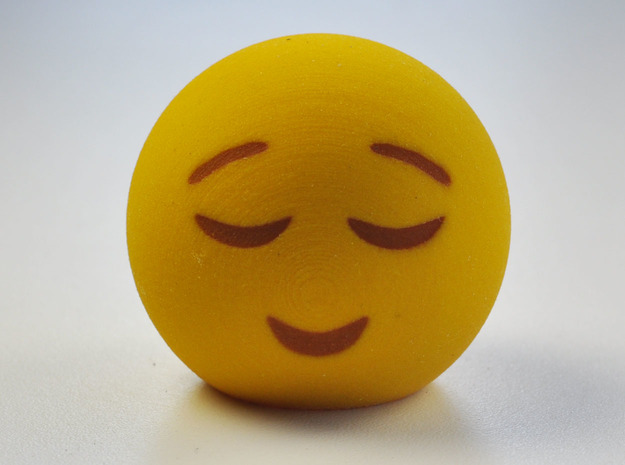 3D Emoji Smiling with Eyes Closed in Full Color Sandstone