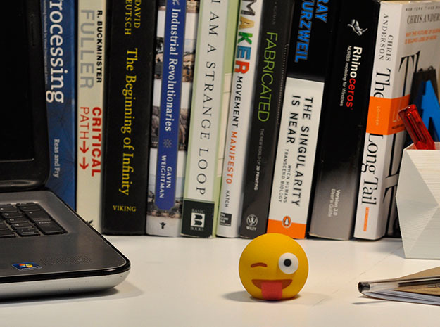3D Emoji Winking with Tongue Out 3d printed