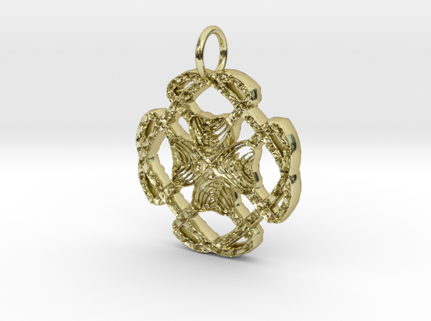 Celtic Lucky Clover Pendant in 18K Yellow Gold: Small