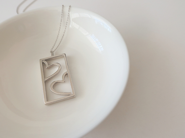 Hearts in Rhodium Plated Brass: Extra Small