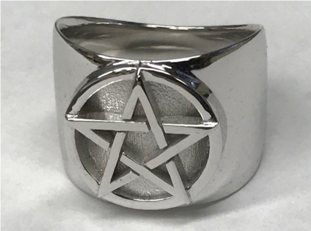 Pentacle Ring - thick in Rhodium Plated Brass: 13 / 69